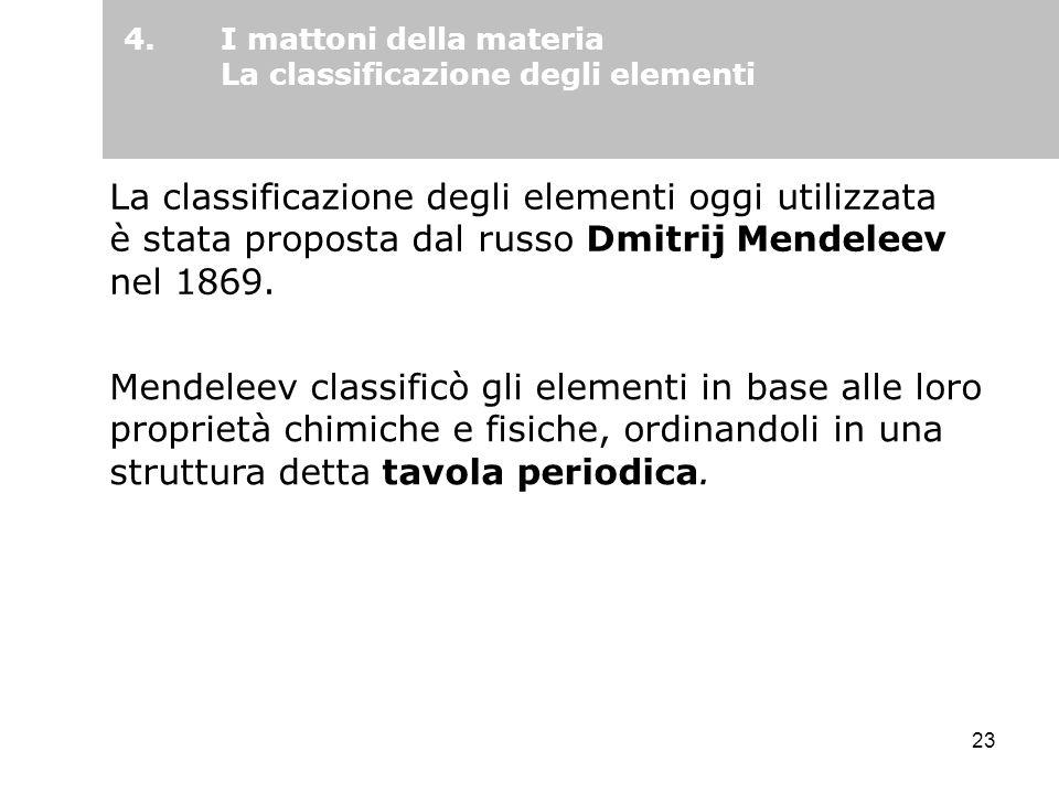 I mattoni della materia La classificazione degli elementi