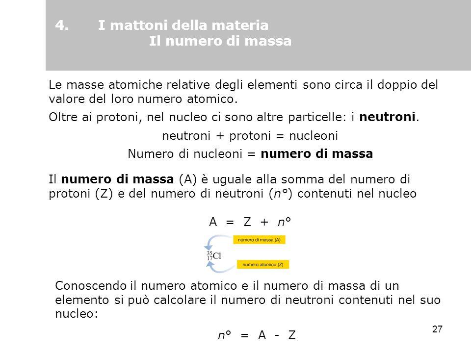 4. I mattoni della materia Il numero di massa
