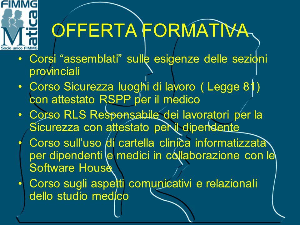 OFFERTA FORMATIVA Corsi assemblati sulle esigenze delle sezioni provinciali.
