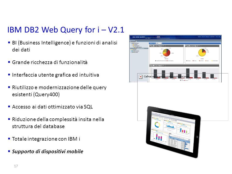 IBM DB2 Web Query for i – V2.1 BI (Business Intelligence) e funzioni di analisi dei dati. Grande ricchezza di funzionalità.