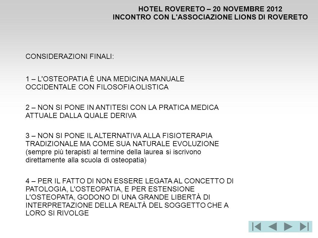 HOTEL ROVERETO – 20 NOVEMBRE 2012