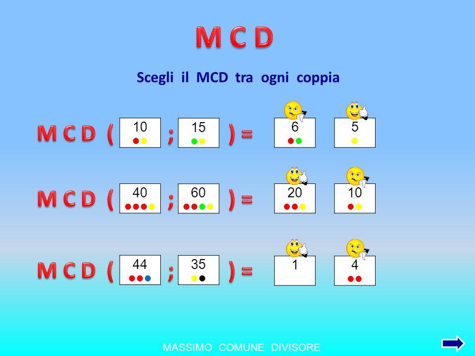 Scegli il MCD tra ogni coppia