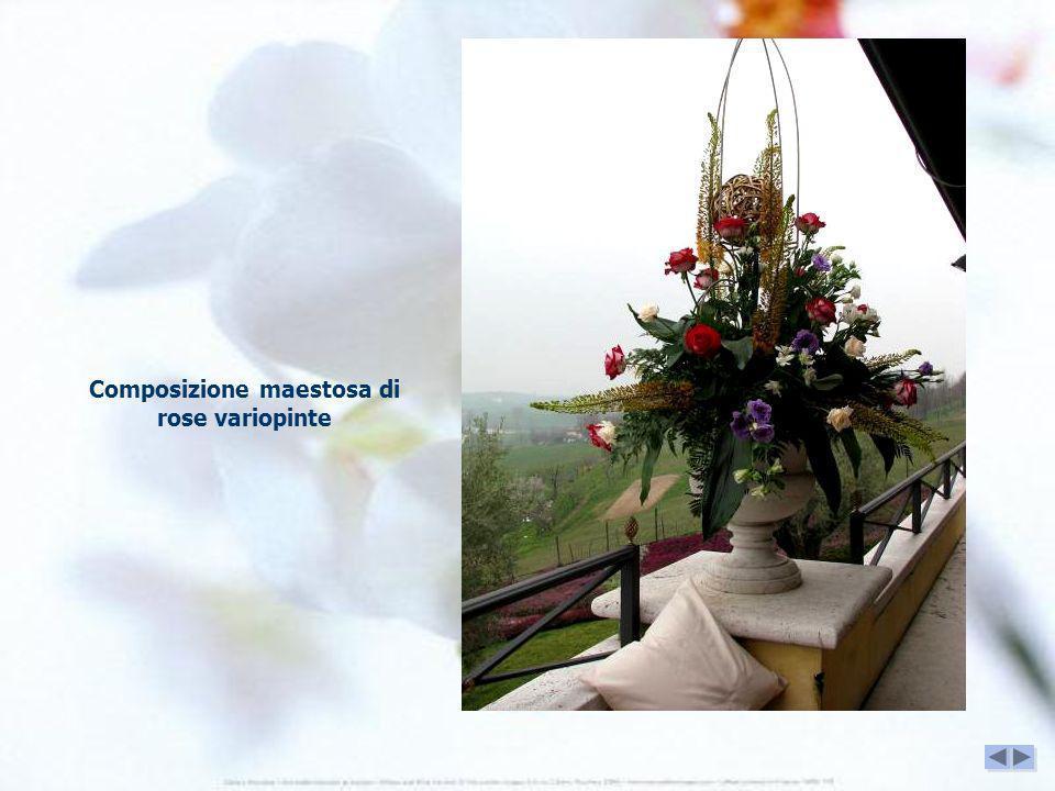 Composizione maestosa di rose variopinte