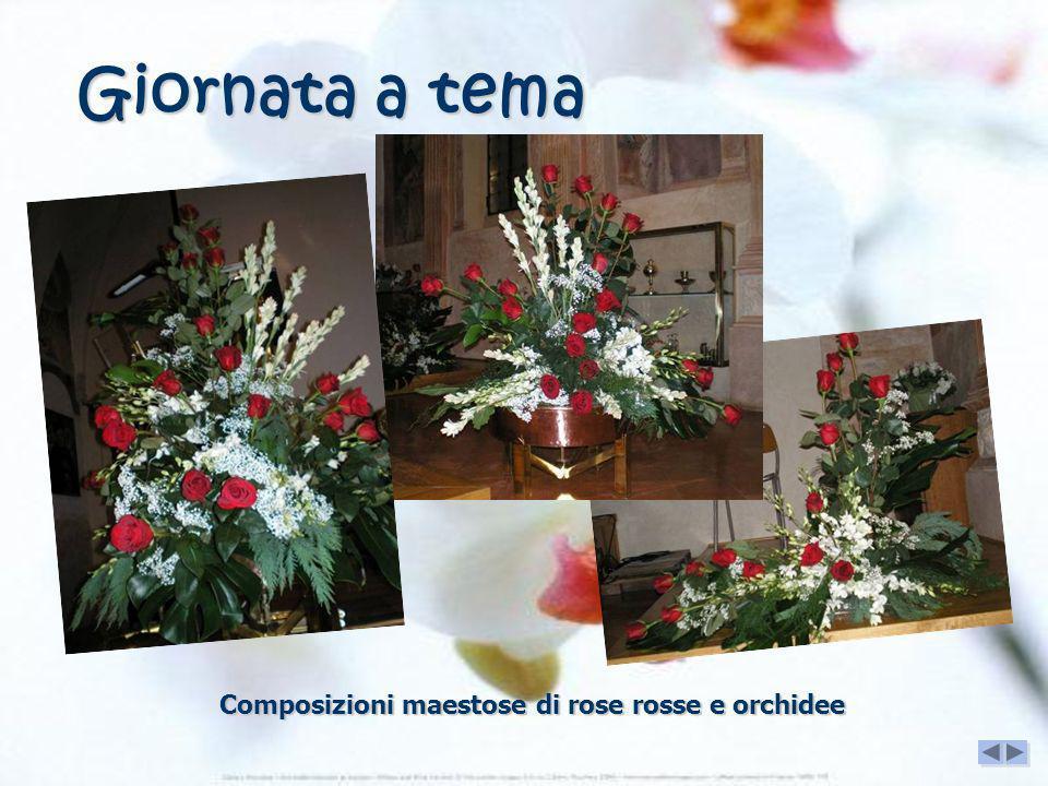 Composizioni maestose di rose rosse e orchidee