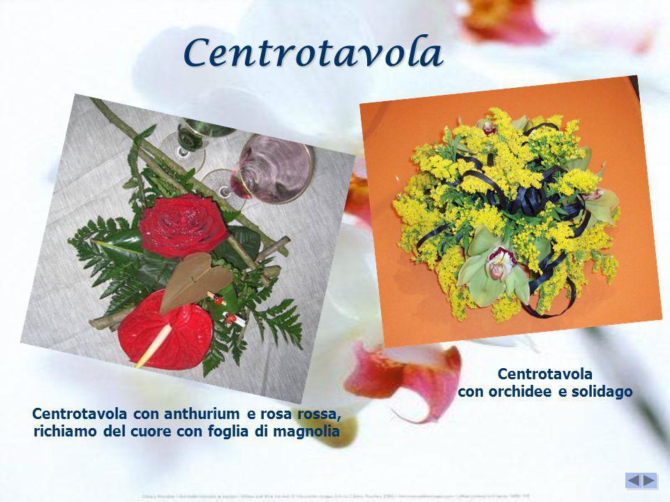 Centrotavola con orchidee e solidago