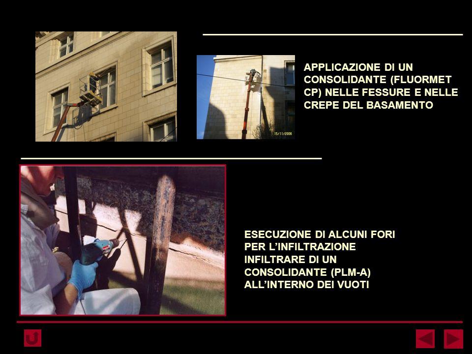 APPLICAZIONE DI UN CONSOLIDANTE (FLUORMET CP) NELLE FESSURE E NELLE CREPE DEL BASAMENTO