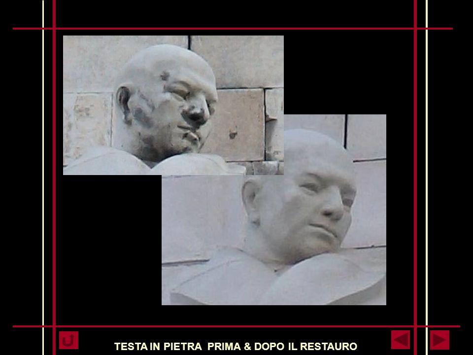 TESTA IN PIETRA PRIMA & DOPO IL RESTAURO