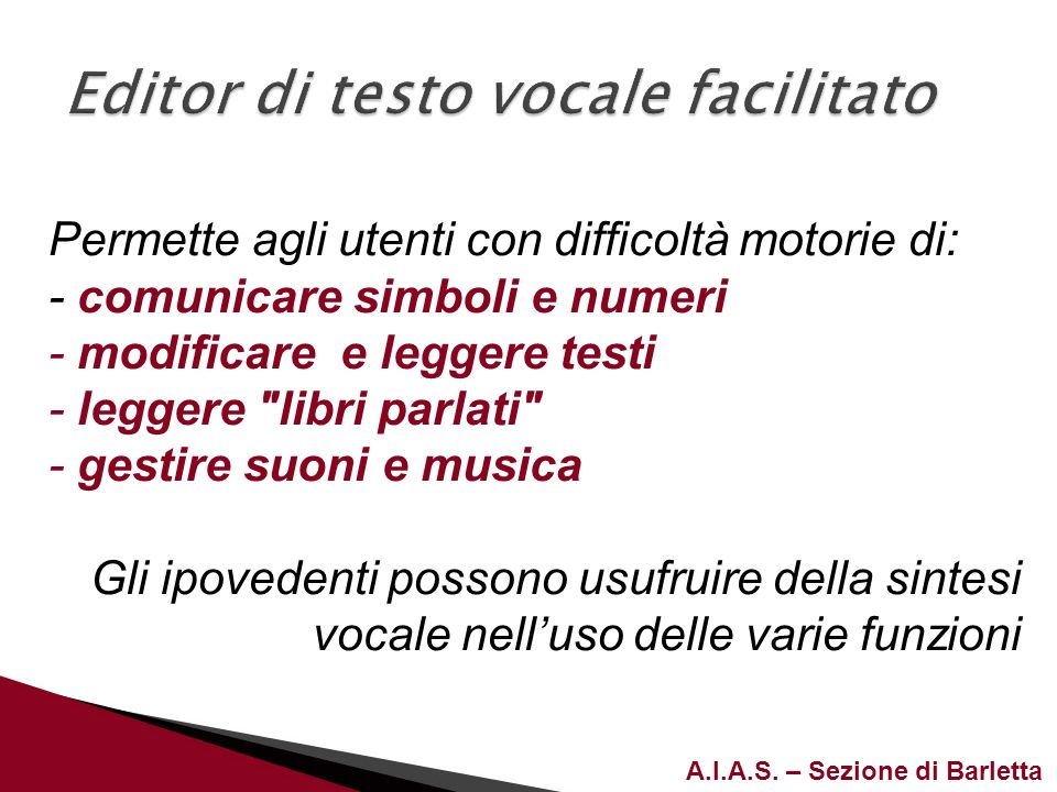 Editor di testo vocale facilitato