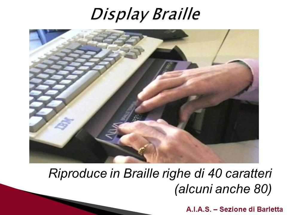 Display Braille Riproduce in Braille righe di 40 caratteri (alcuni anche 80)