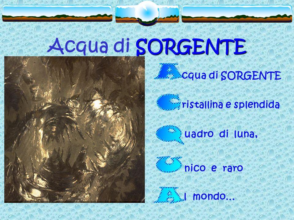 Acqua di SORGENTE ACQUA cqua di SORGENTE ristallina e splendida