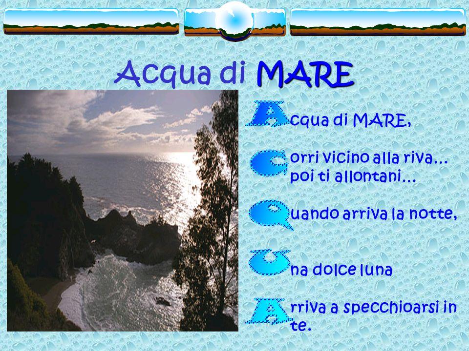 Acqua di MARE ACQUA cqua di MARE, orri vicino alla riva…