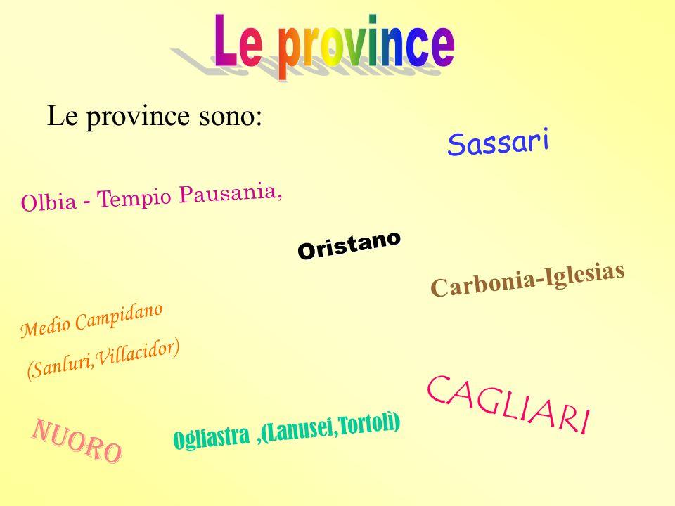 CAGLIARI Le province Le province sono: Sassari Nuoro Carbonia-Iglesias