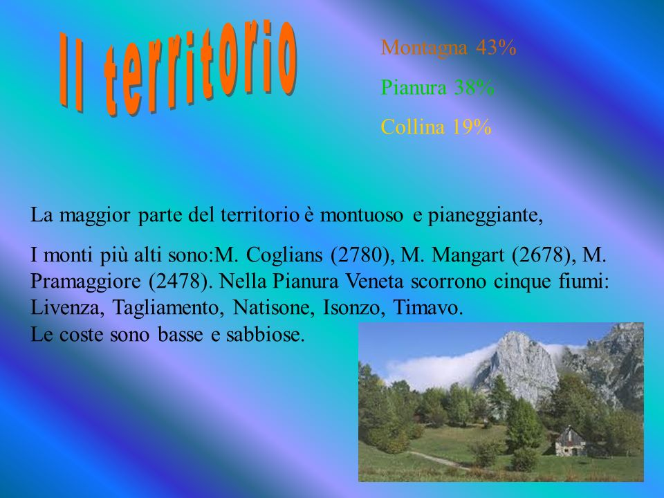 Il territorio Montagna 43% Pianura 38% Collina 19%