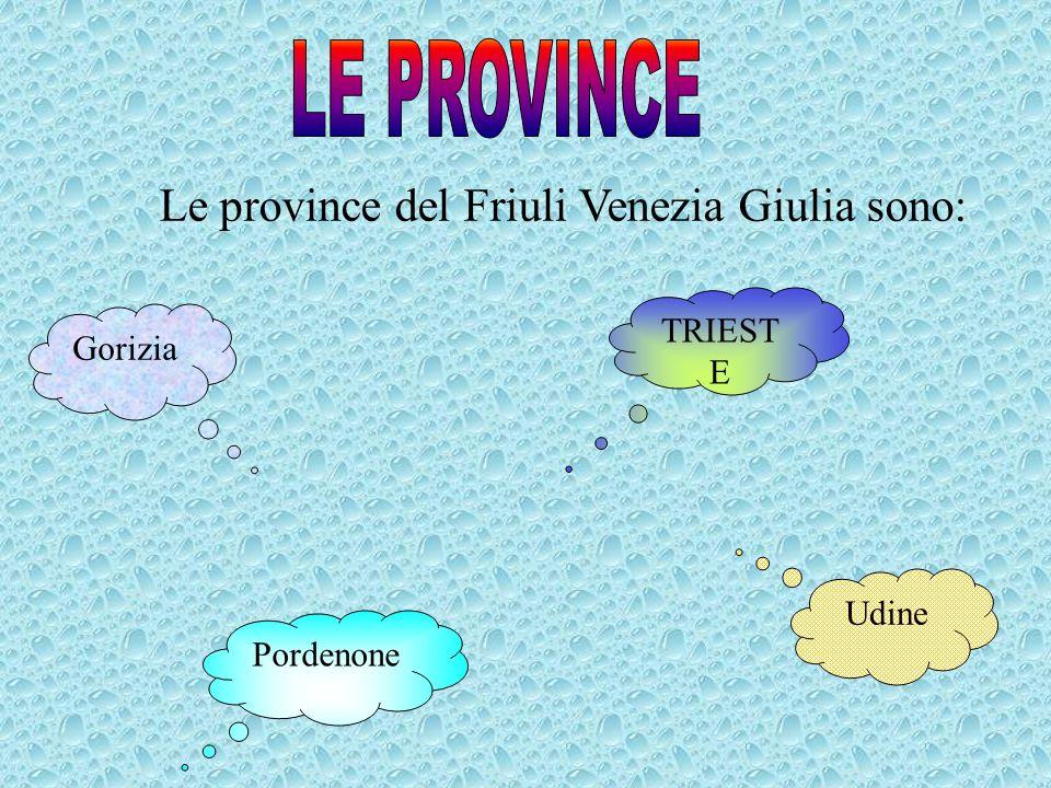 LE PROVINCE Le province del Friuli Venezia Giulia sono: TRIESTE
