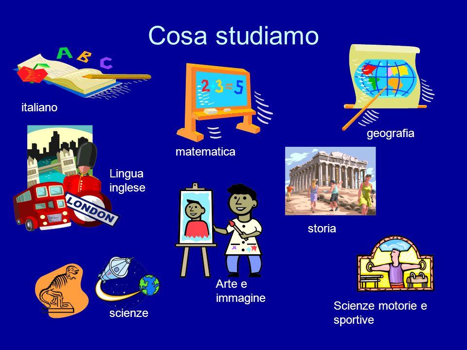 Cosa studiamo italiano geografia matematica Lingua inglese storia