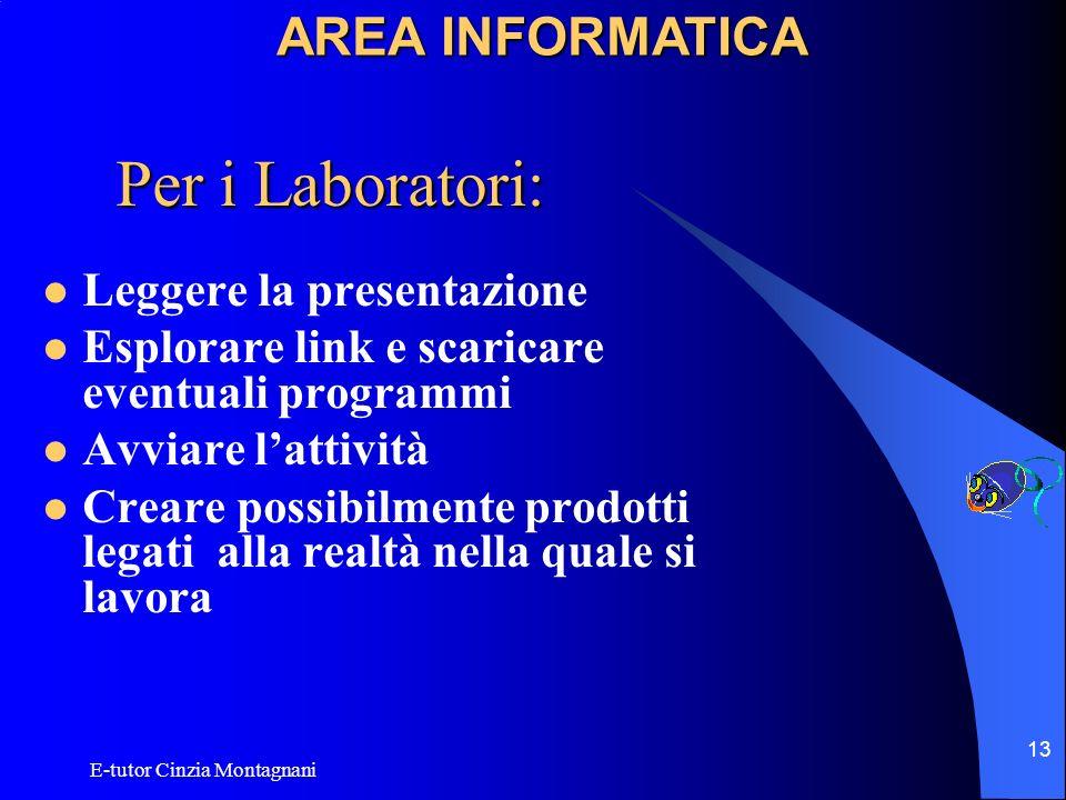 Per i Laboratori: AREA INFORMATICA Leggere la presentazione