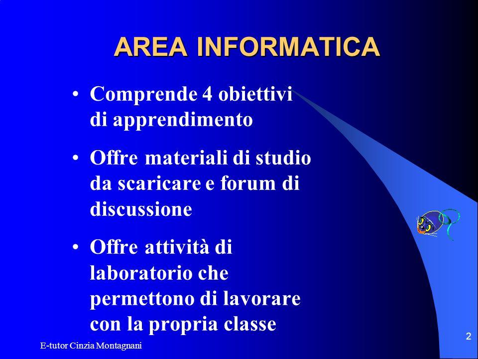 AREA INFORMATICA Comprende 4 obiettivi di apprendimento
