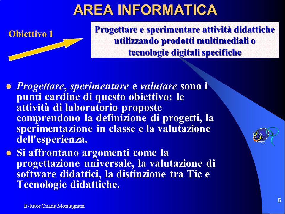 AREA INFORMATICA Progettare e sperimentare attività didattiche utilizzando prodotti multimediali o tecnologie digitali specifiche.