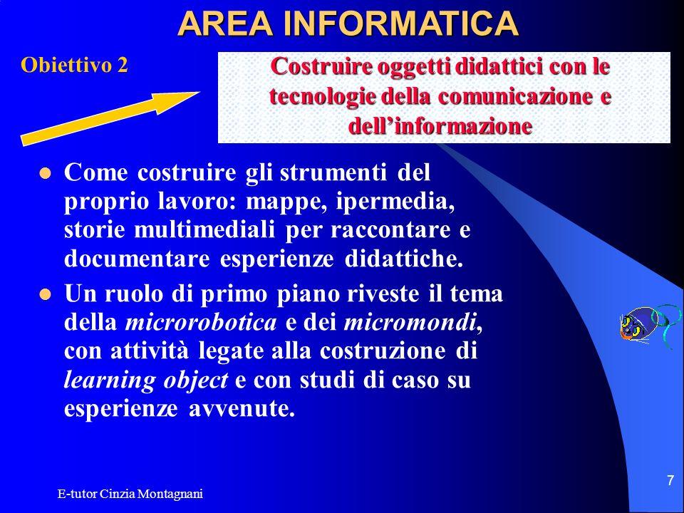AREA INFORMATICA Obiettivo 2. Costruire oggetti didattici con le tecnologie della comunicazione e dell'informazione.