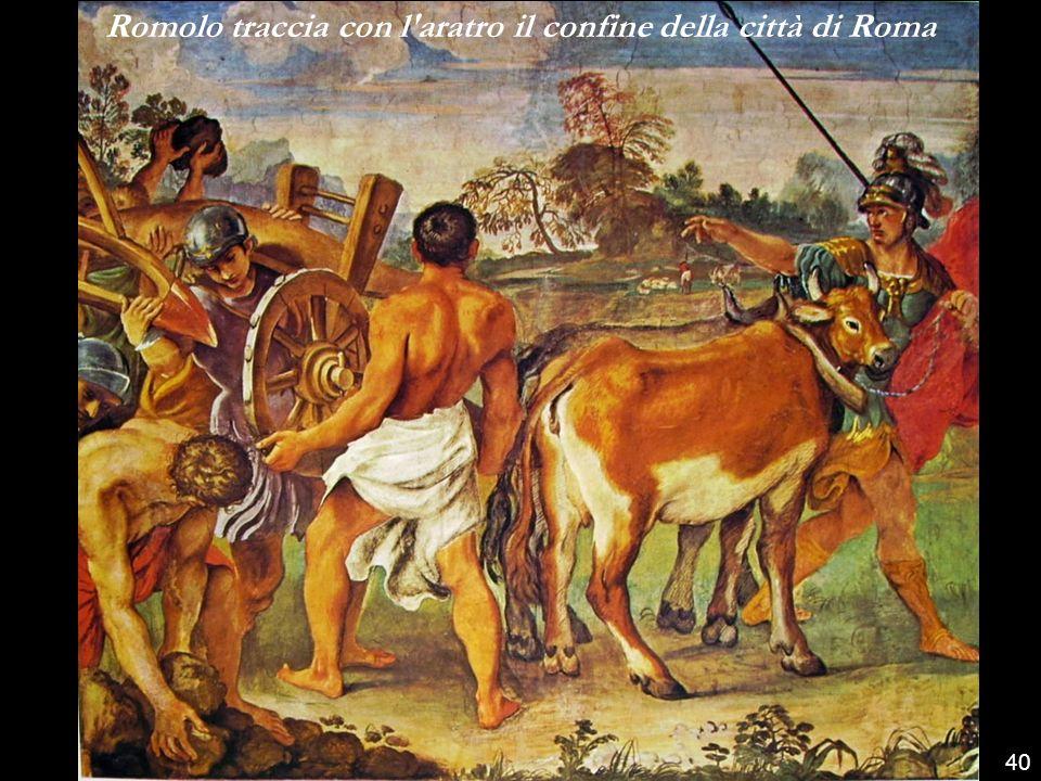 Romolo traccia con l aratro il confine della città di Roma