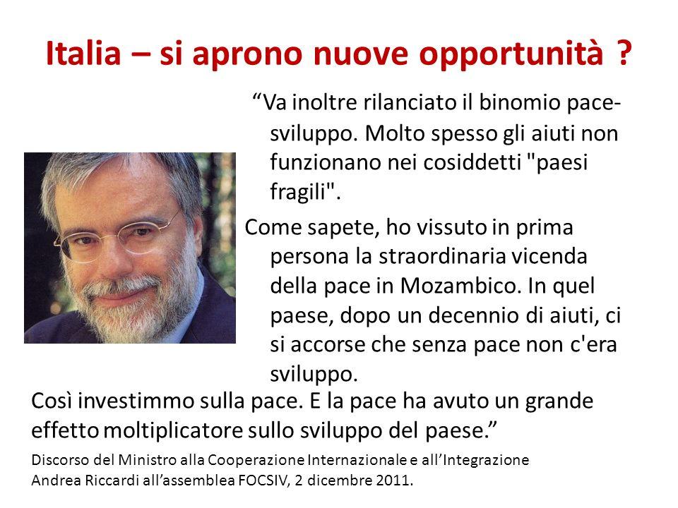 Italia – si aprono nuove opportunità