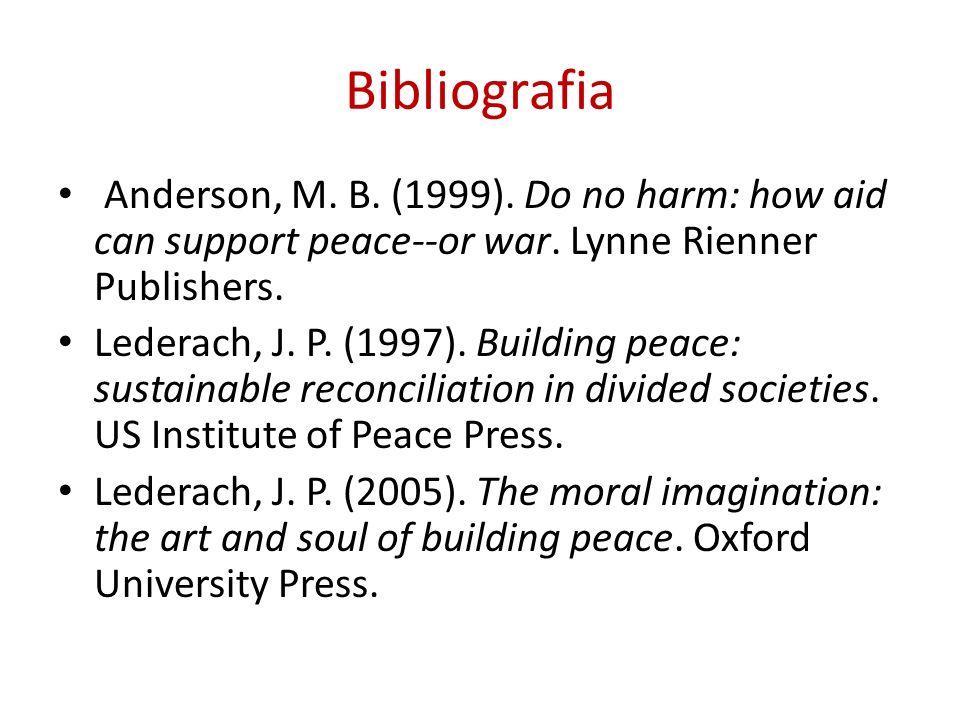 BibliografiaAnderson, M. B. (1999). Do no harm: how aid can support peace--or war. Lynne Rienner Publishers.