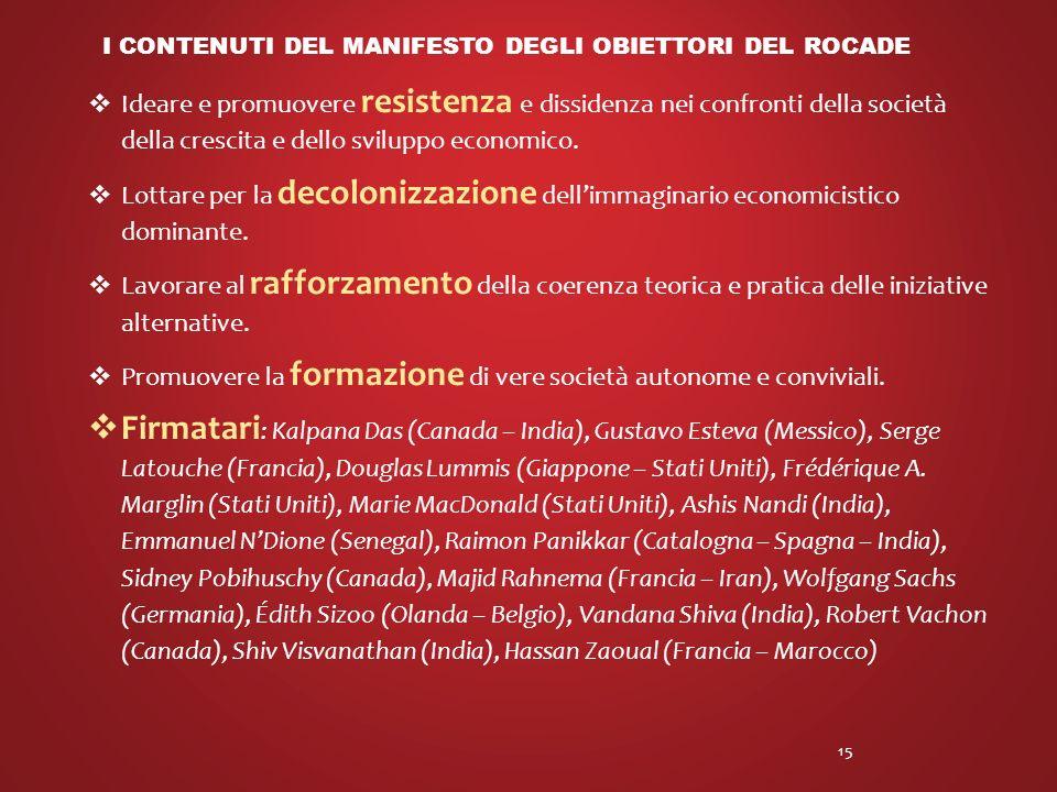 I contenuti del manifesto degli obiettori del rocade