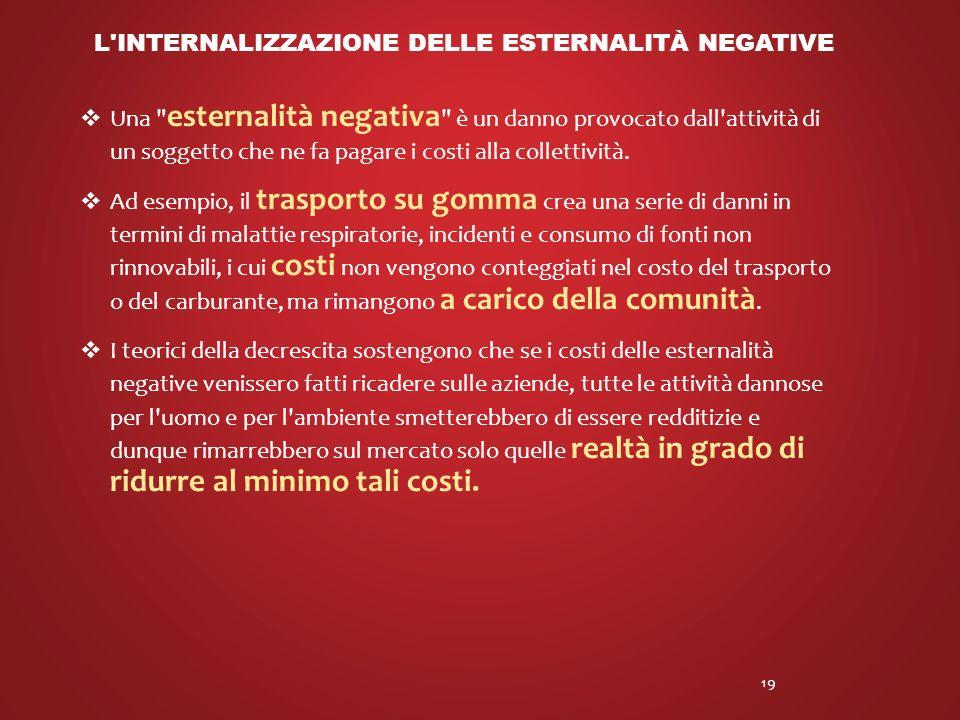L internalizzazione delle esternalità negative