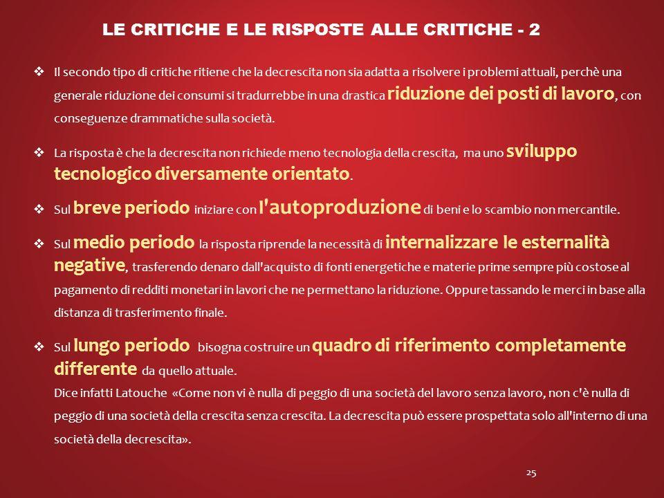 Le critiche e le risposte alle critiche - 2
