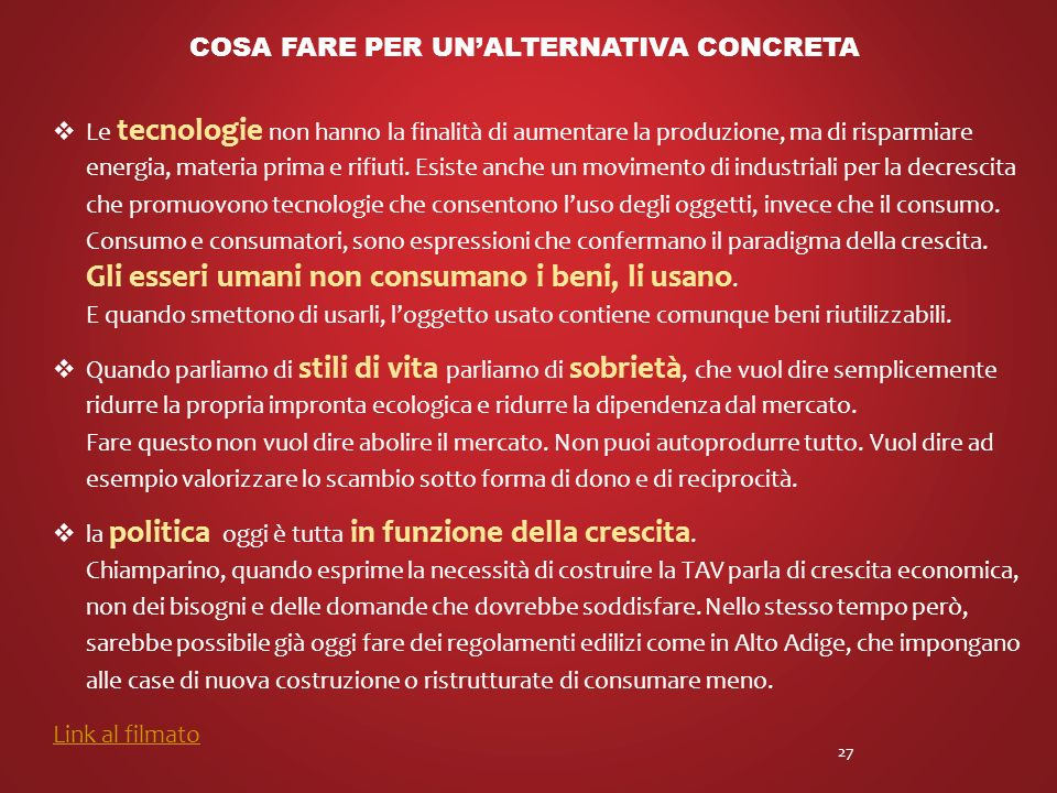 Cosa fare per un'alternativa concreta
