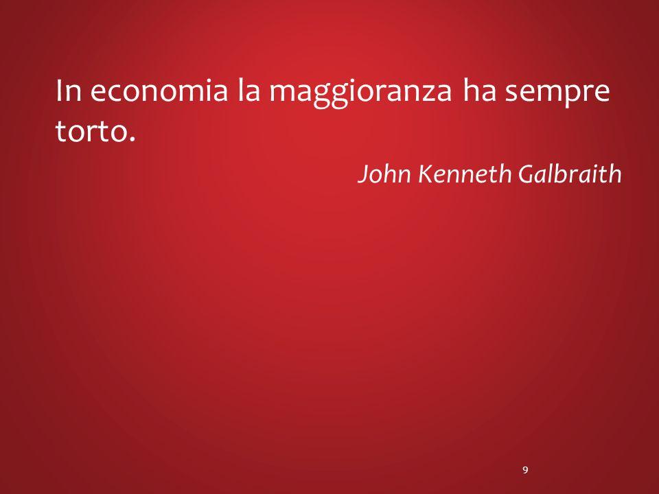 In economia la maggioranza ha sempre torto. John Kenneth Galbraith