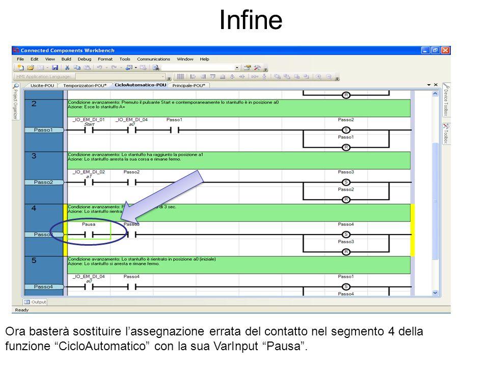 Infine Ora basterà sostituire l'assegnazione errata del contatto nel segmento 4 della funzione CicloAutomatico con la sua VarInput Pausa .