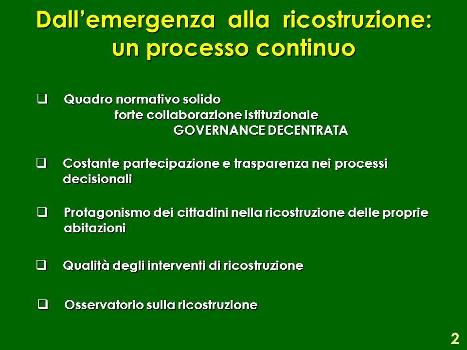 Dall'emergenza alla ricostruzione: un processo continuo