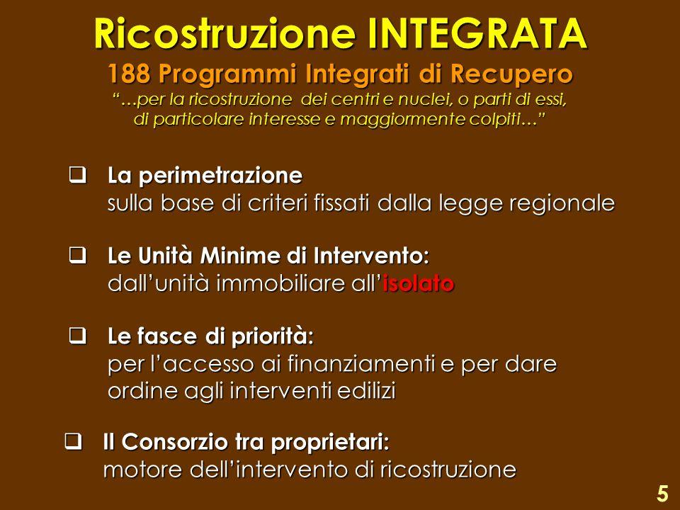 Ricostruzione INTEGRATA 188 Programmi Integrati di Recupero …per la ricostruzione dei centri e nuclei, o parti di essi, di particolare interesse e maggiormente colpiti…