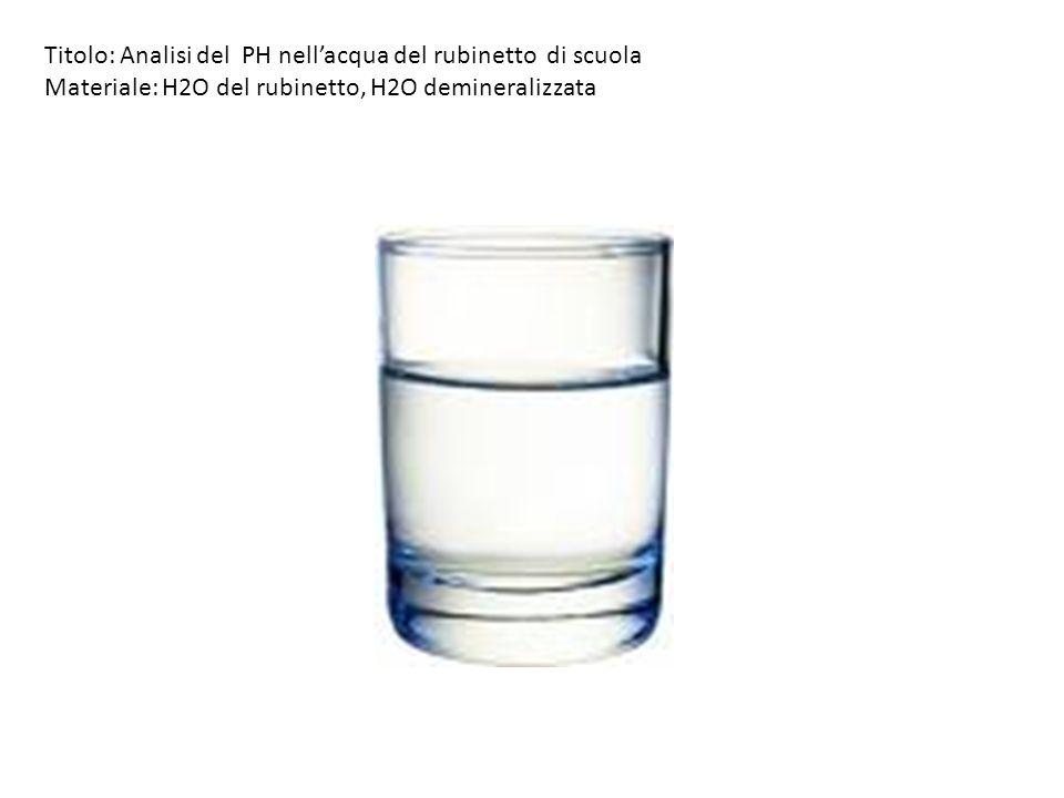 Titolo: Analisi del PH nell'acqua del rubinetto di scuola