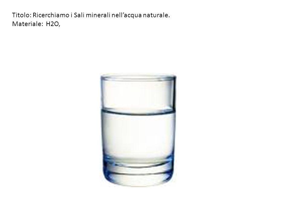 Titolo: Ricerchiamo i Sali minerali nell'acqua naturale.