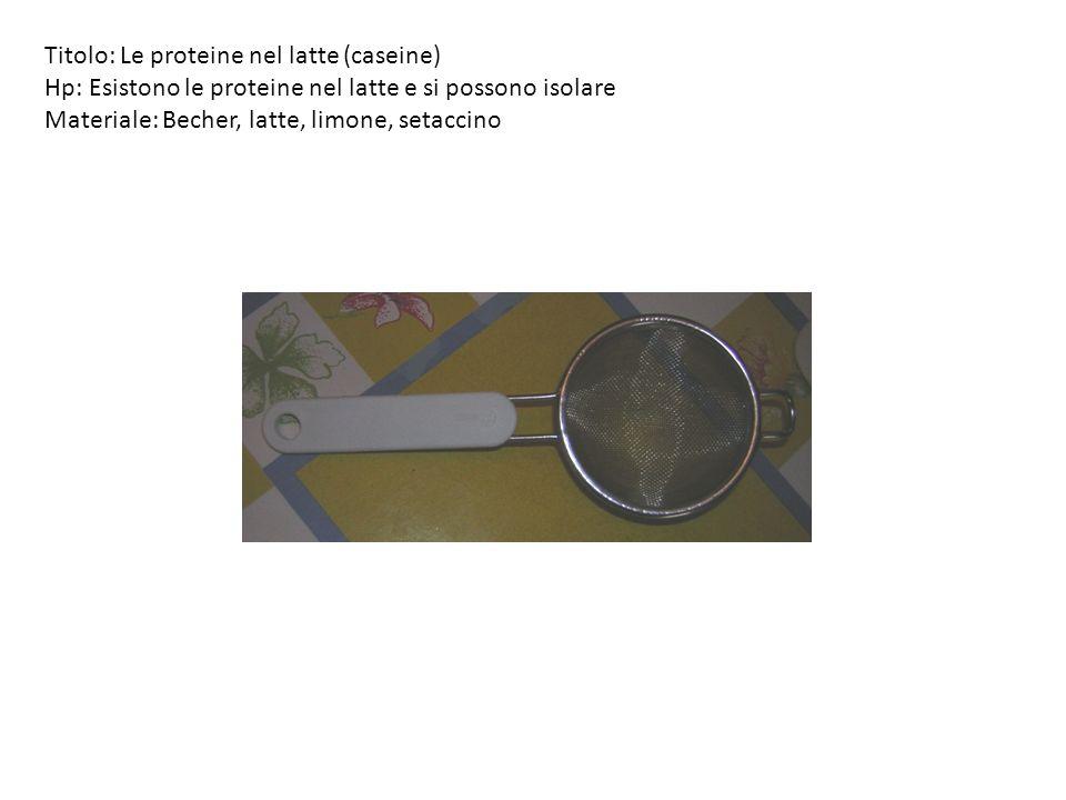 Titolo: Le proteine nel latte (caseine)