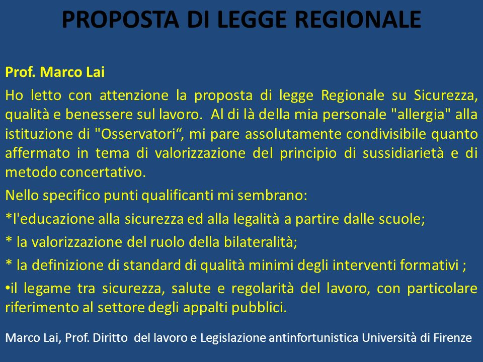 PROPOSTA DI LEGGE REGIONALE