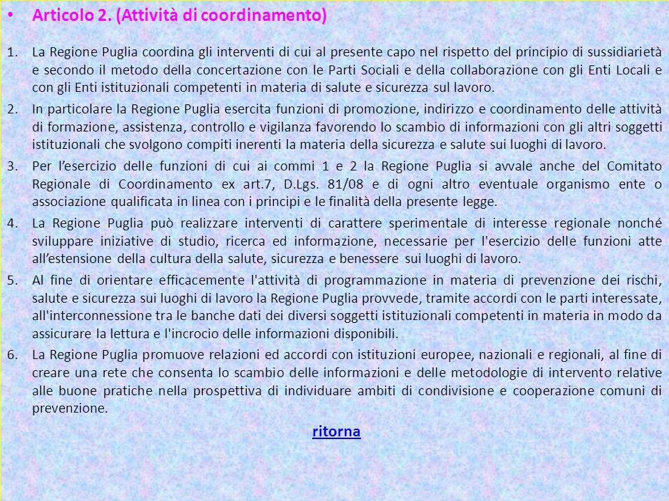 Art 2 1 Articolo 2. (Attività di coordinamento) ritorna