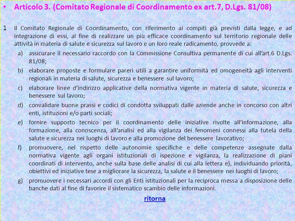 Articolo 3. (Comitato Regionale di Coordinamento ex art. 7, D. Lgs
