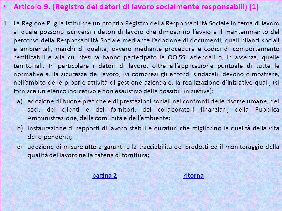 Articolo 9. (Registro dei datori di lavoro socialmente responsabili) (1)