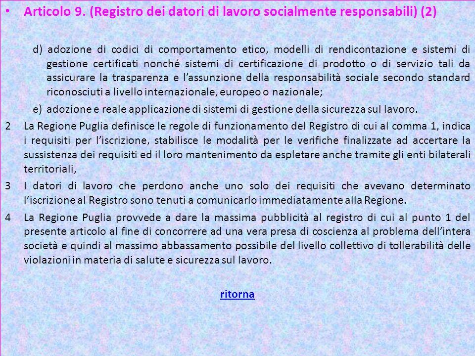 Articolo 9. (Registro dei datori di lavoro socialmente responsabili) (2)