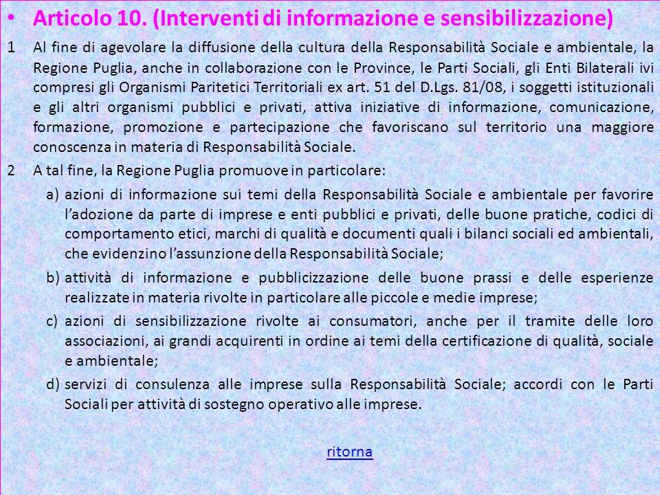 Art 10 1 Articolo 10. (Interventi di informazione e sensibilizzazione)