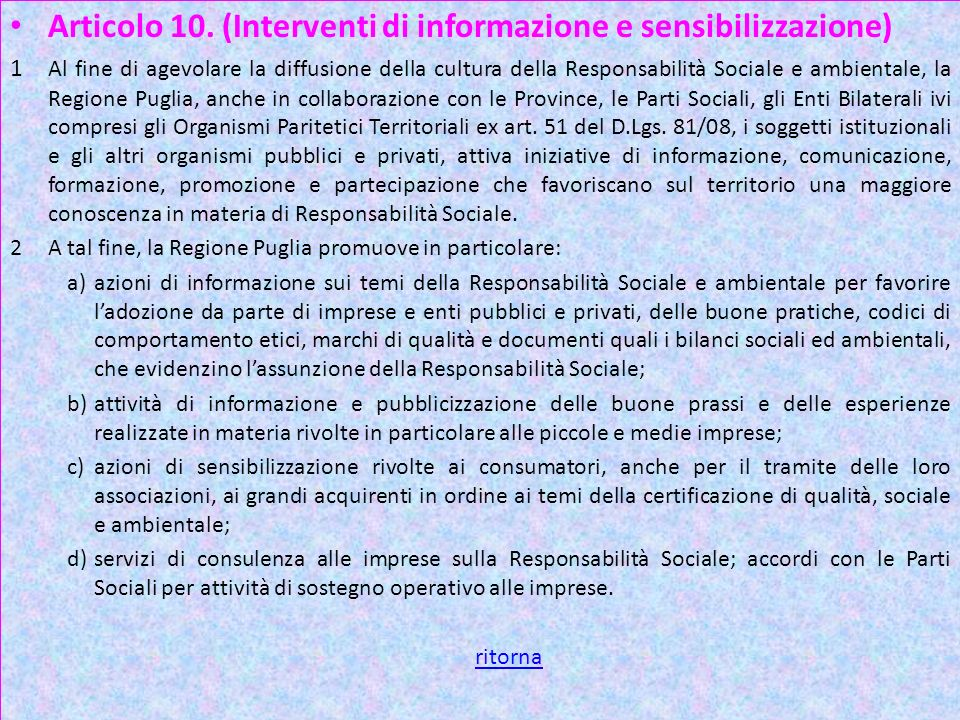Art 10 3 Articolo 10. (Interventi di informazione e sensibilizzazione)