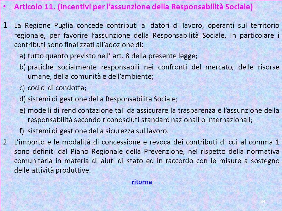 Articolo 11. (Incentivi per l'assunzione della Responsabilità Sociale)