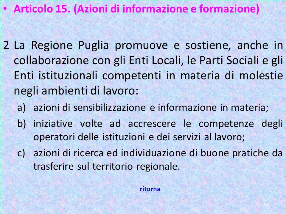 Articolo 15. (Azioni di informazione e formazione)