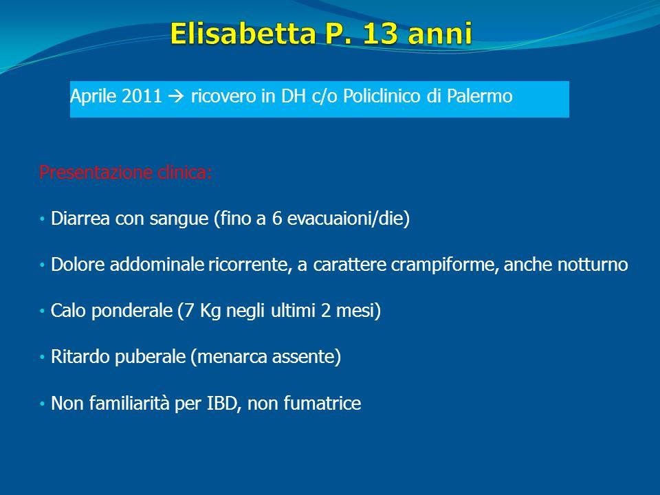 Elisabetta P. 13 anni Aprile 2011  ricovero in DH c/o Policlinico di Palermo. Presentazione clinica: