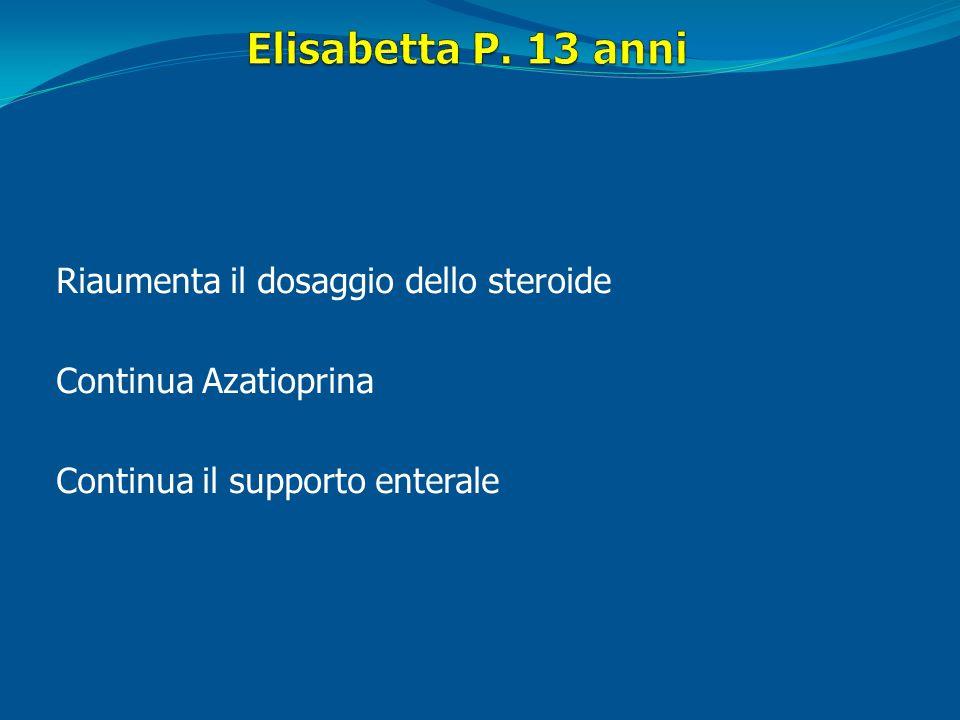 Elisabetta P. 13 anni Riaumenta il dosaggio dello steroide