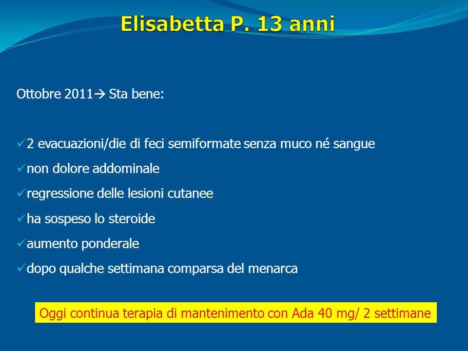 Elisabetta P. 13 anni Ottobre 2011 Sta bene: