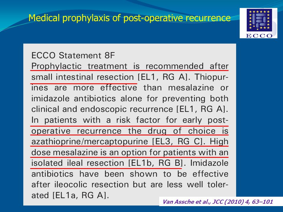 Medical prophylaxis of post-operative recurrence